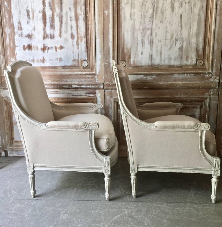Pair of Louis XVI Style Bergères 3