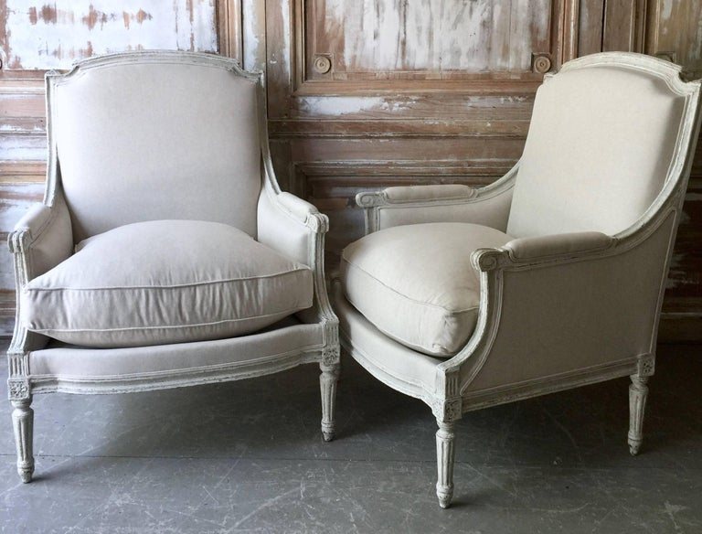 Pair of Louis XVI Style Bergères 2