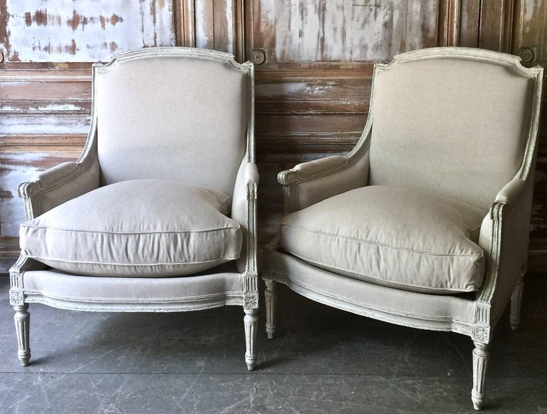 Pair of Louis XVI Style Bergères 4