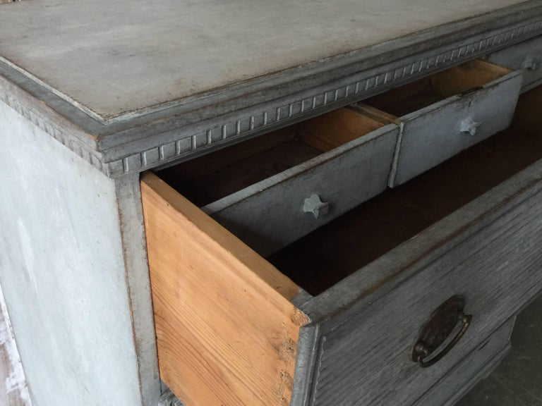 Bronze Swedish Gustavian Chest of Drawers with Reeded Front For Sale