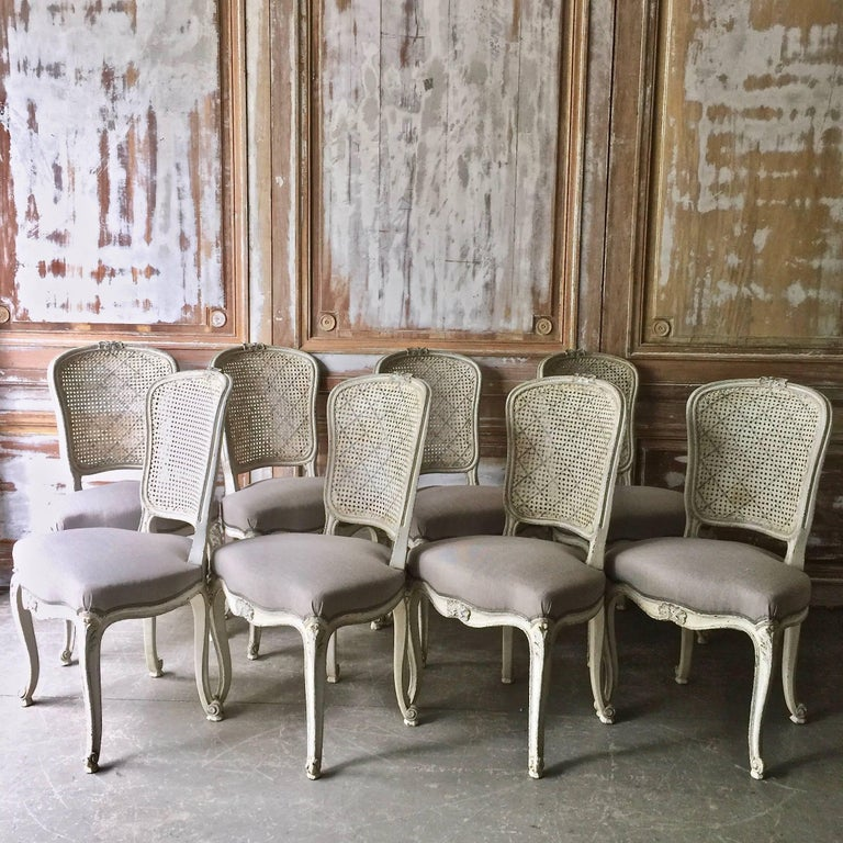 Set of Eight French LXV Style Chairs with Cane Back 2