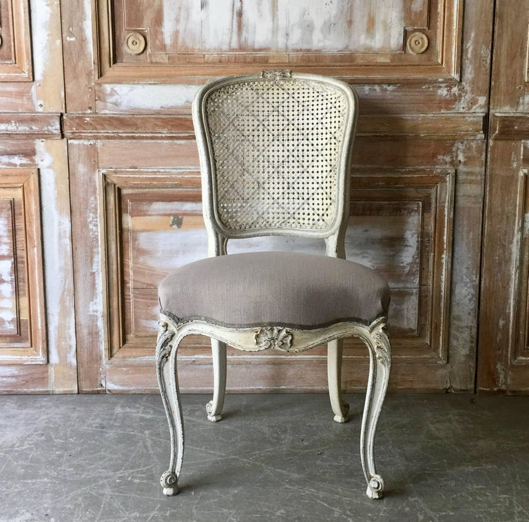 Set of Eight French LXV Style Chairs with Cane Back 4