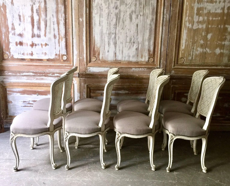 Set of Eight French LXV Style Chairs with Cane Back 3