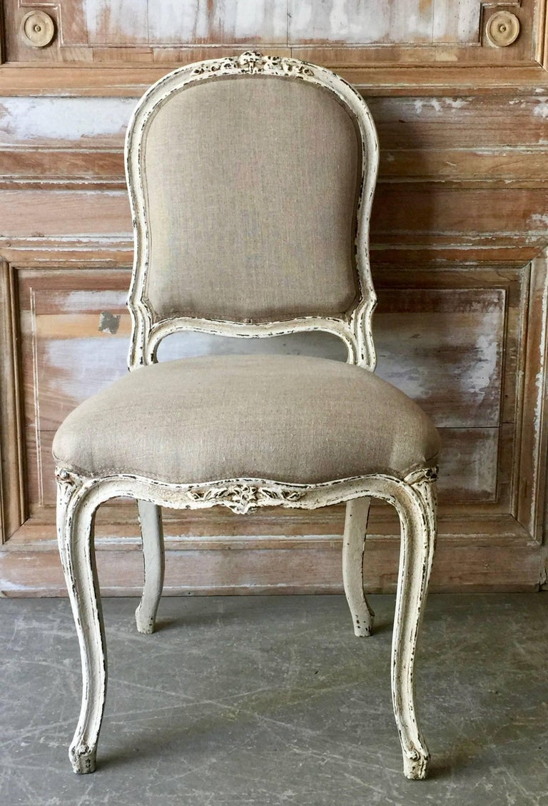 Hand-Crafted Set of Six Painted French Louis XV Style Dining Chairs For Sale