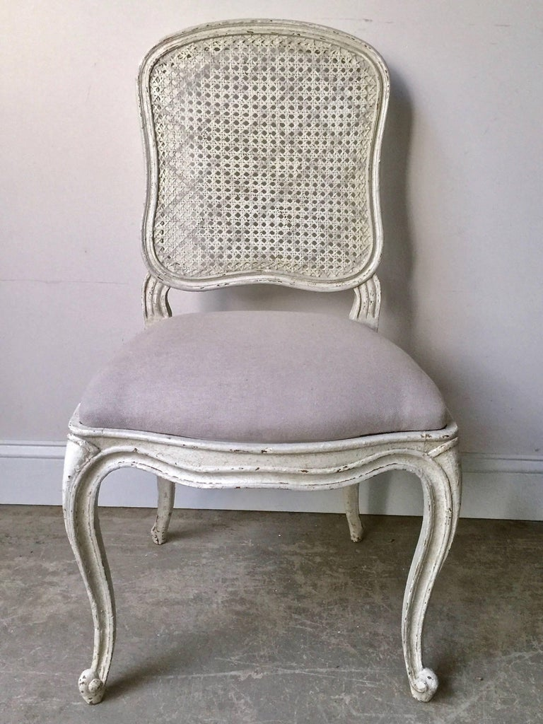 Hand-Crafted Set of Six, 19th Century French Louis XV Style Chairs with Cane Back For Sale