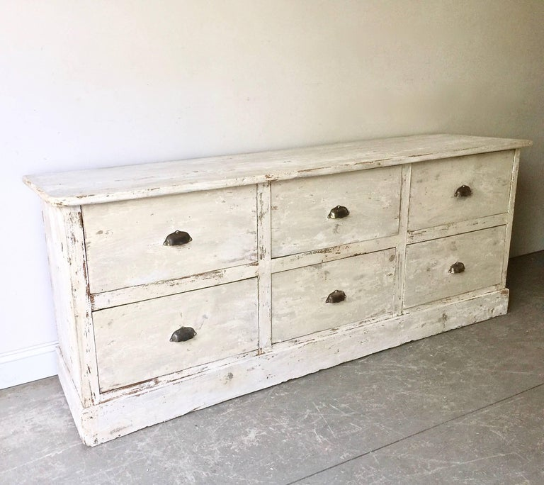 Hand-Crafted 19th Century French Sale Counter with Six Large Drawers For Sale