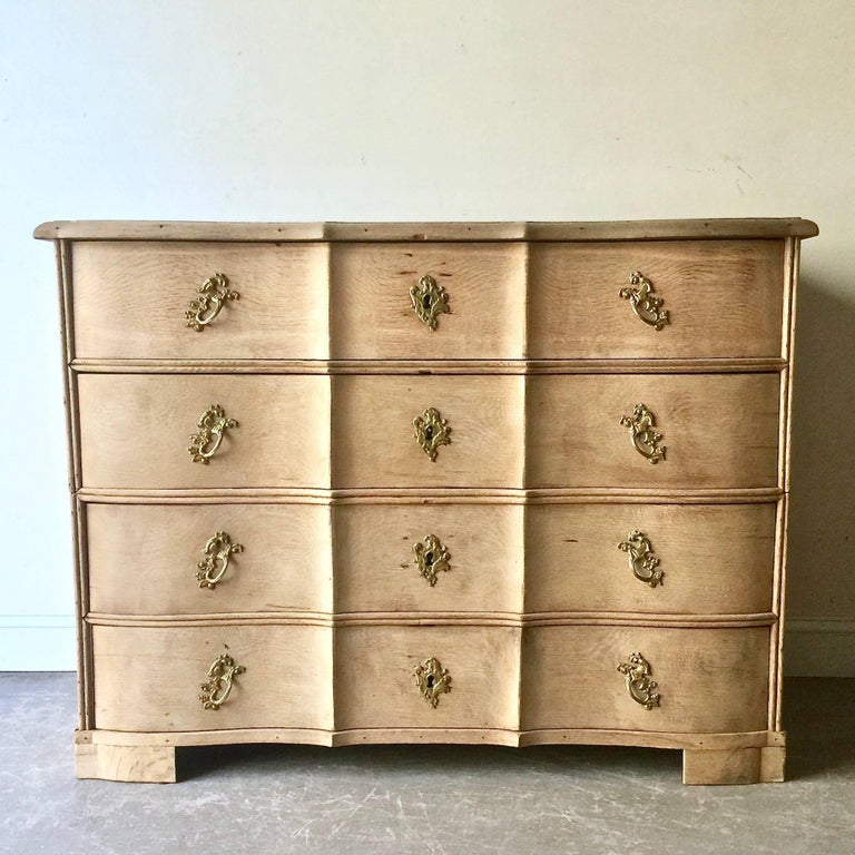 Hand-Carved 18th Century Danish Rococo Chest of Drawers For Sale