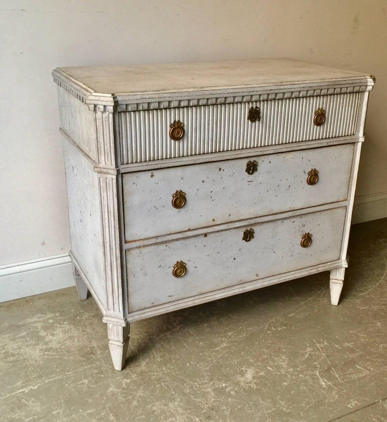 Hand-Carved Swedish Gustavian Chest of Drawers For Sale