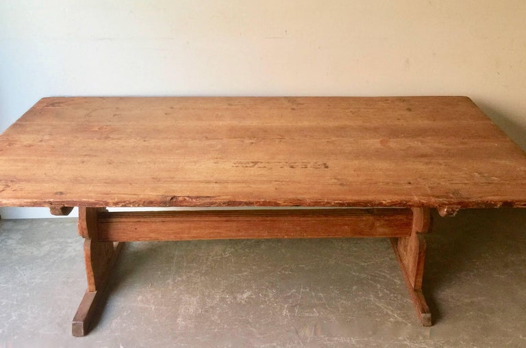 Hand-Crafted Large Early 19th Century Swedish Trestle Table For Sale