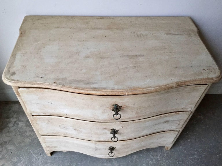Hand-Carved 18th Century Swedish Period Rococo Chest of Drawers For Sale