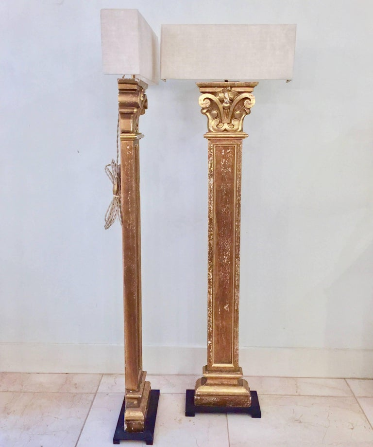 French Pair of 19th century Pilaster Fragment as Floorlamps with Custommade Linen Shade For Sale