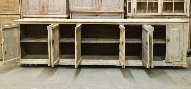 Hand-Crafted 18th century Italian 8 Door Sideboard For Sale