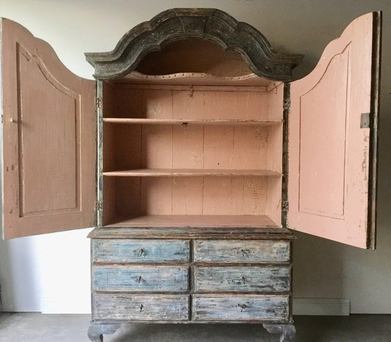 Hand-Carved 18th Century Swedish Period Rococo Cabinet For Sale