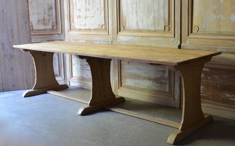 19th Century Dutch Long Trestle Table at 1stdibs