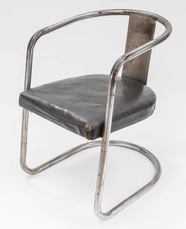Modernist Chromed Steel Tubular Chair from the Art Deco Period 5