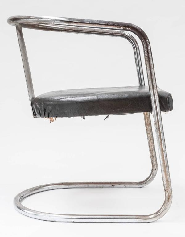 Modernist Chromed Steel Tubular Chair from the Art Deco Period 6