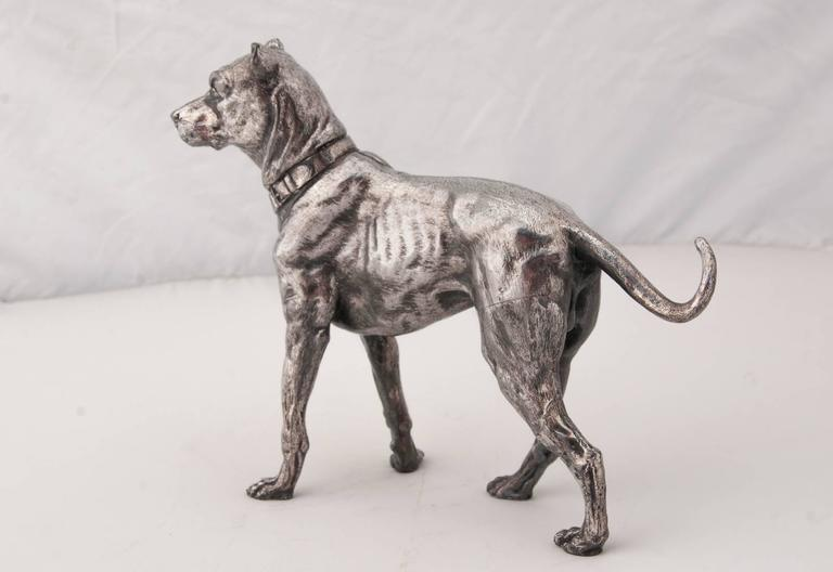 Jugendstil WMF Silver Plated Figure of a Mastiff For Sale