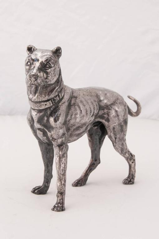 Early 20th Century WMF Silver Plated Figure of a Mastiff For Sale