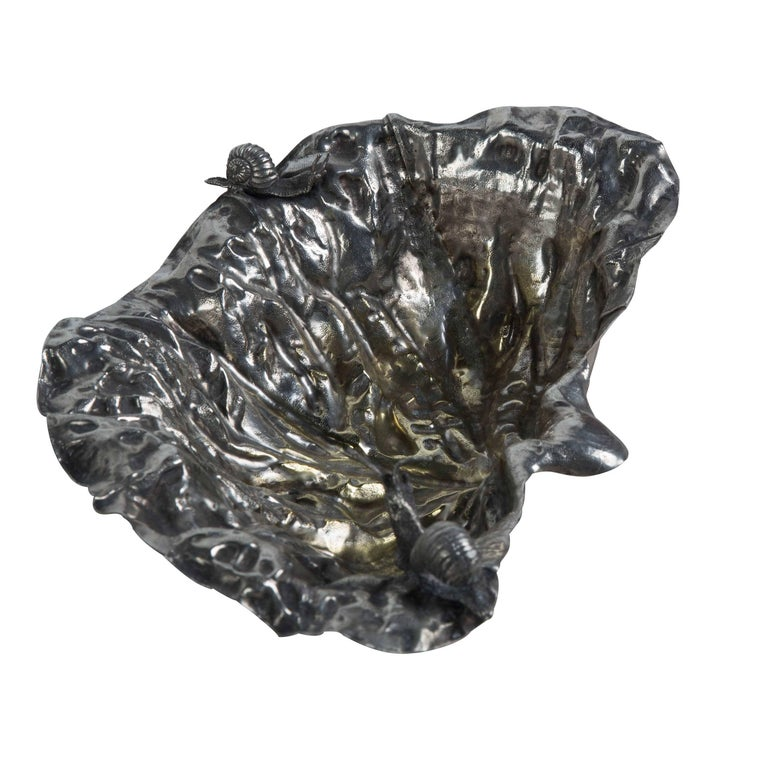 Mid-Century Modern Leaf Bowl with Snails Designed by Gabriella Crespi for Christian Dior Home For Sale