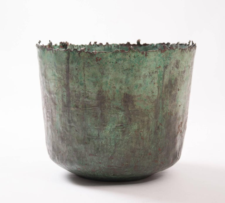 Brutalist Etruscan Style Torch Cut Patinated Copper Vessel by Marcello Fantoni For Sale 2