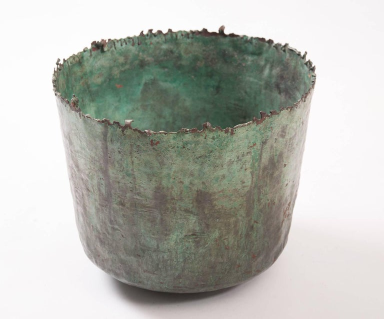Brutalist Etruscan Style Torch Cut Patinated Copper Vessel by Marcello Fantoni For Sale 3