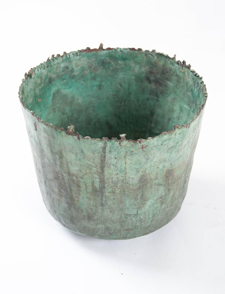 Mid-Century Modern Brutalist Etruscan Style Torch Cut Patinated Copper Vessel by Marcello Fantoni For Sale