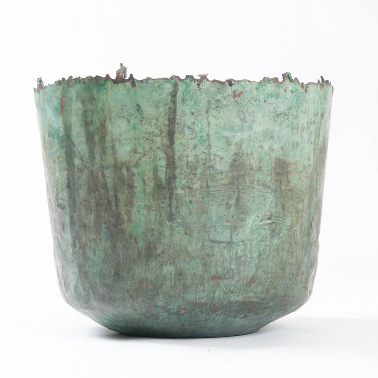 Beautiful large Brutalist, Etruscan style torch cut patinated copper jardinière/vessel by Marcello Fantoni, signed to the underside, circa 1960.