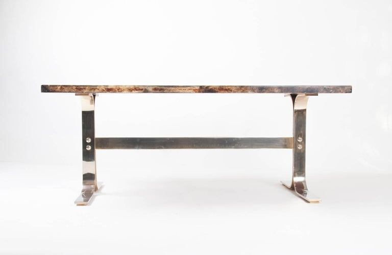 Aldo Tura midcentury Parchment Covered Low Table, Italy, circa 1960-1970 2