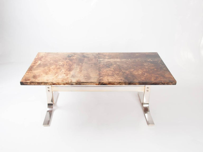 Aldo Tura midcentury Parchment Covered Low Table, Italy, circa 1960-1970 4