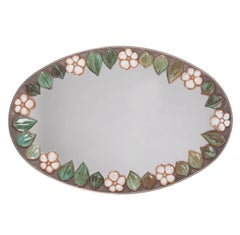 1970s Stainless Steel and Ceramic Tile Mirror