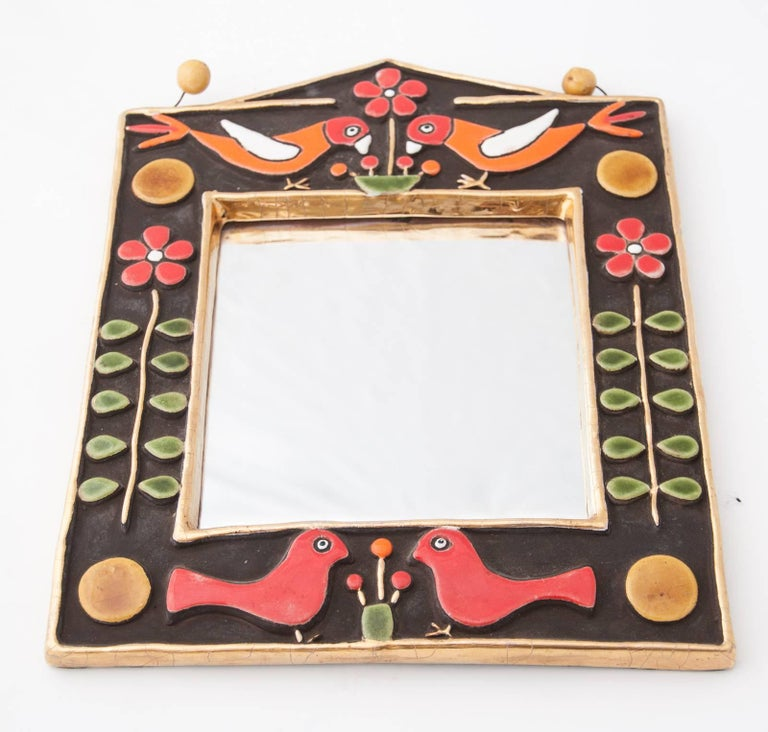 French Midcentury Francois Lembo Rectangular Multi-Color Ceramic Mirror For Sale