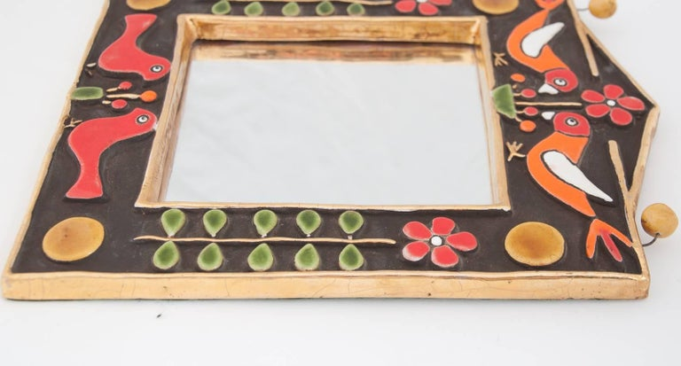 Midcentury Francois Lembo Rectangular Multi-Color Ceramic Mirror In Excellent Condition For Sale In Fingest, Oxfordshire