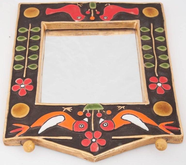 Late 20th Century Midcentury Francois Lembo Rectangular Multi-Color Ceramic Mirror For Sale