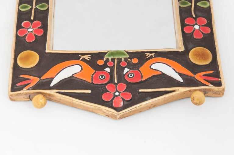 Midcentury Francois Lembo Rectangular Multi-Color Ceramic Mirror For Sale 1