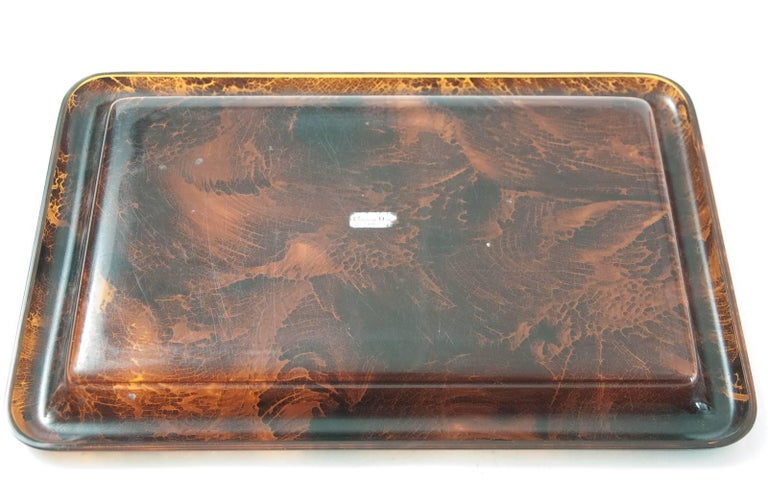 Midcentury Faux Tortoiseshell Tray by Christian Dior with Original Label In Good Condition For Sale In Fingest, GB