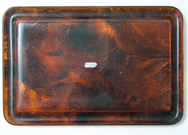 Late 20th Century Midcentury Faux Tortoiseshell Tray by Christian Dior with Original Label For Sale