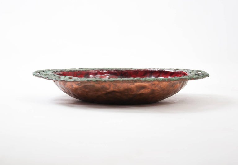 Patinated Midcentury Brutalist Bowl with Red Enamel Interior by Marcello Fantoni 3