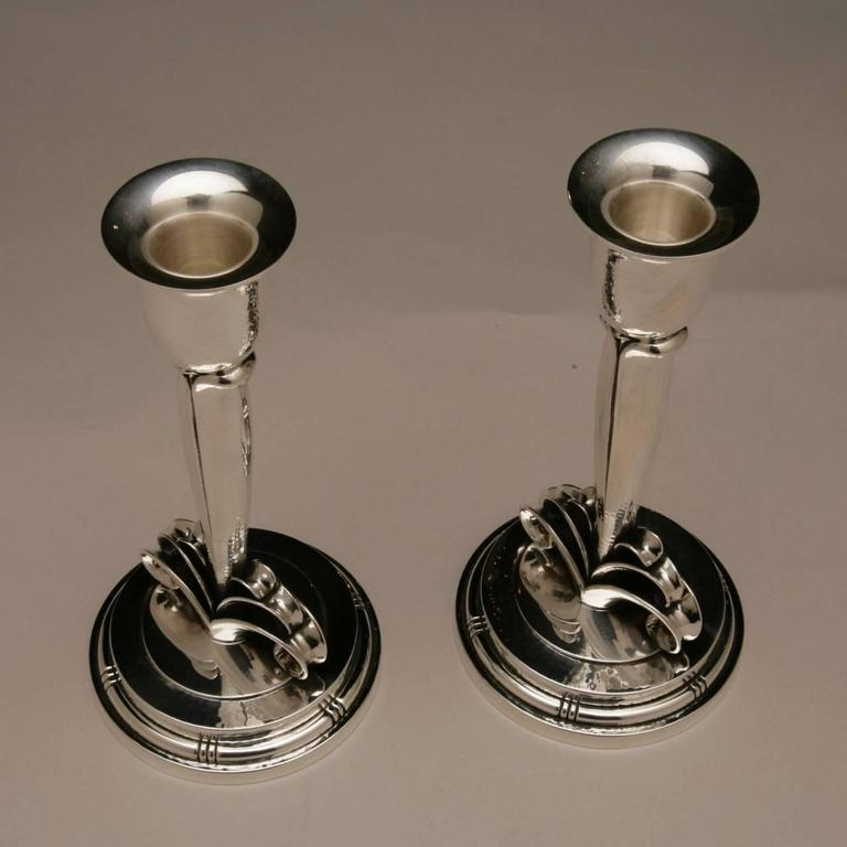 Danish Evald Nielsen Sterling Silver Pair of Art Deco Candlesticks For Sale