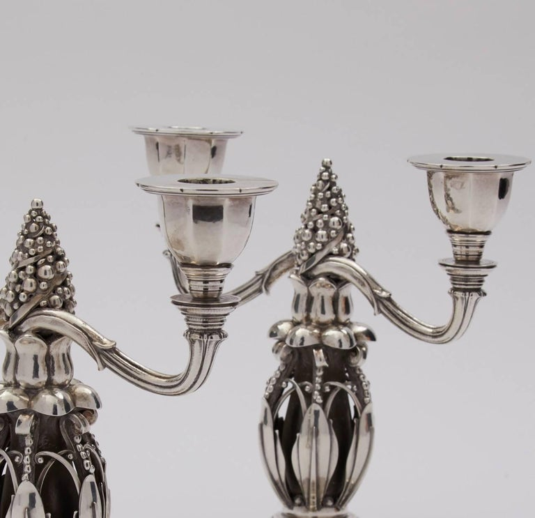 Georg Jensen sterling silver pair of candelabra, no. 244  Often referred to as the