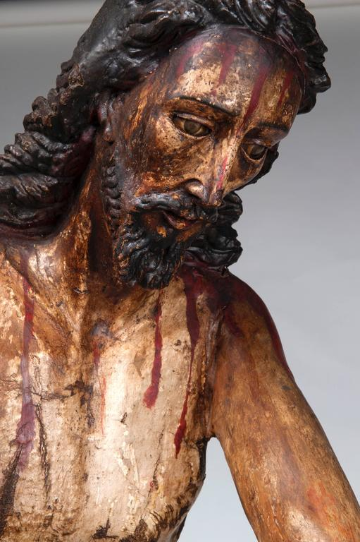 Christ at the column (Flagellation of Christ). Carved, Polychromed Wood.  circa 1720-1750.  The Flagellation of Christ, sometimes known as Christ at the Column or the Scourging at the Pillar, is a scene from the Passion of Christ very