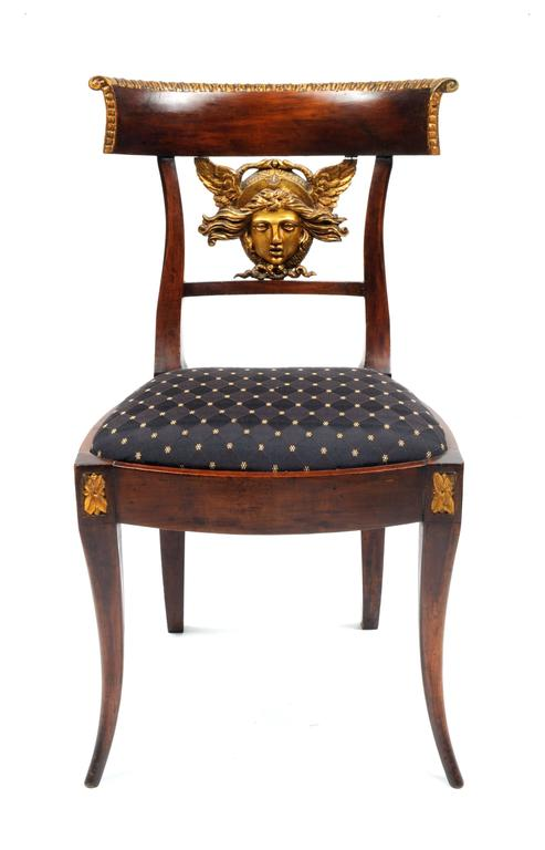 Carved Set of Six Italian Neoclassical Klismos Medusa Head Side Chairs, circa 1810-1820