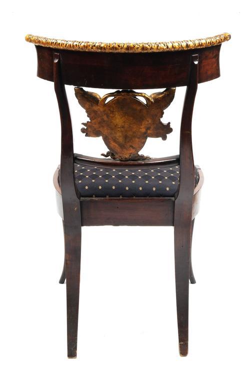 Wood Set of Six Italian Neoclassical Klismos Medusa Head Side Chairs, circa 1810-1820