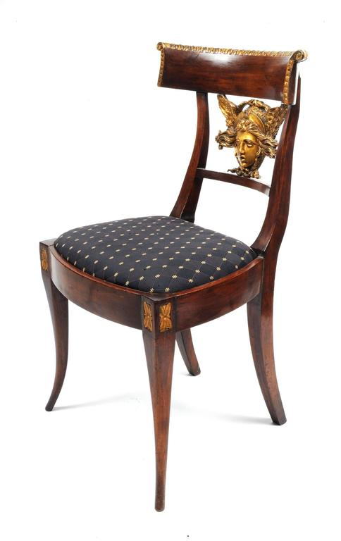 Set of Six Italian Neoclassical Klismos Medusa Head Side Chairs, circa 1810-1820 In Excellent Condition In Kensington, MD