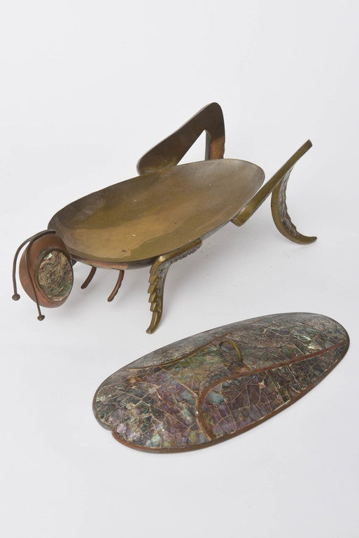 Mexican Abalone And Brass Lidded Grasshopper Dish Circa