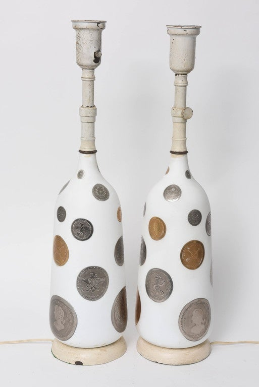 Silvered Pair of 1960s Hand-Painted Coin Lamps For Sale