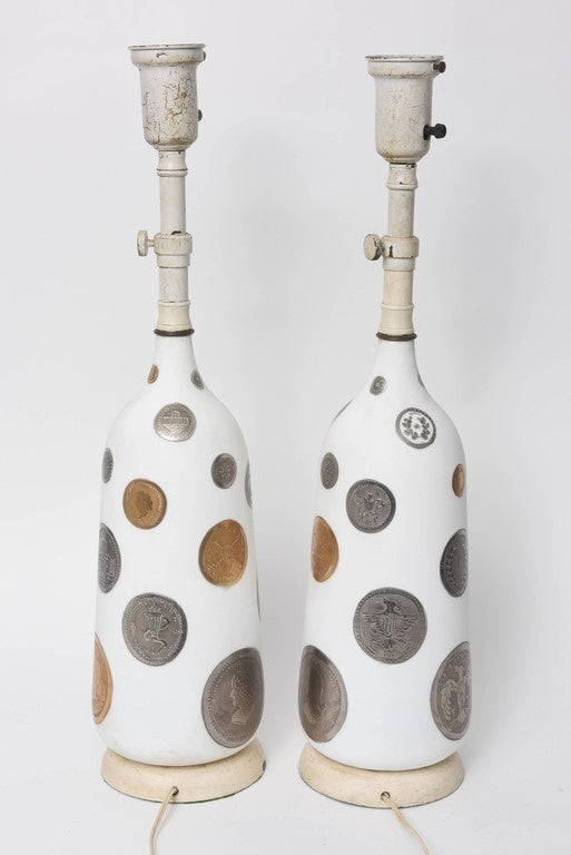 Mid-20th Century Pair of 1960s Hand-Painted Coin Lamps For Sale