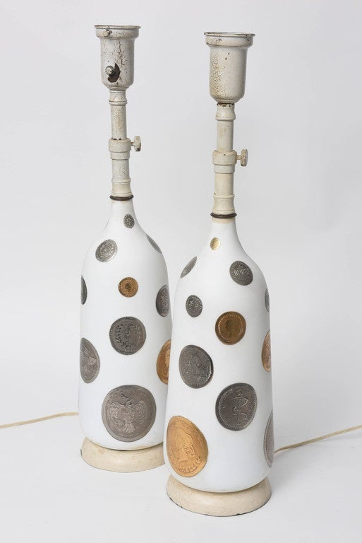 Pair of 1960s Hand-Painted Coin Lamps For Sale 1