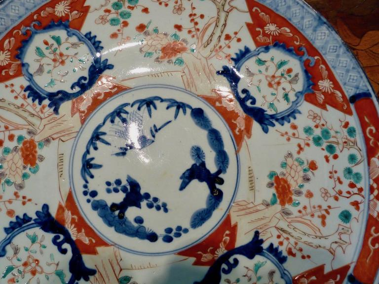 Large Polychrome Japanese Imari Charger, 18th-19th Century In Good Condition For Sale In Stamford, CT