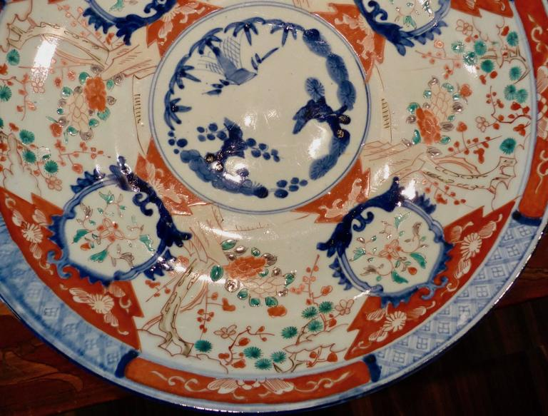 18th Century Large Polychrome Japanese Imari Charger, 18th-19th Century For Sale