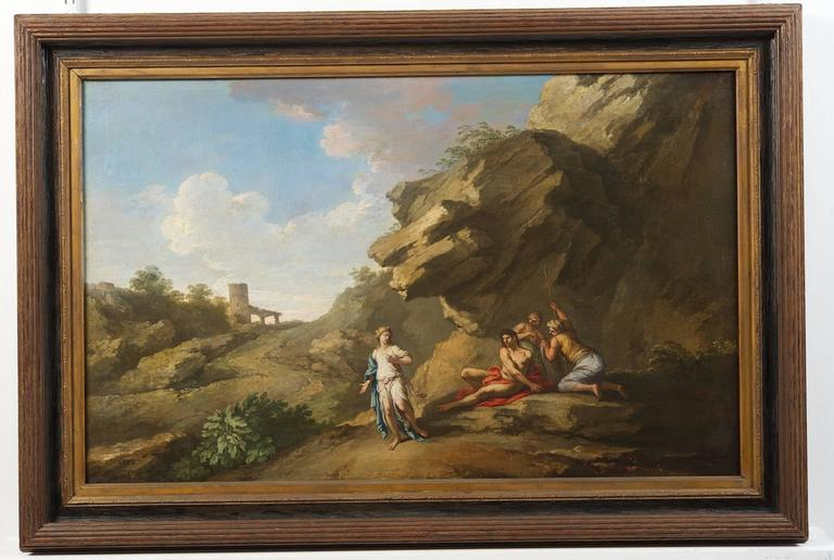 A Roman landscape with figures by Andrea Locatelli (Roma 1693-1741)  Locatelli was amongst the group of landscape painters in Rome who were widely patronised by the English 'Milordi' on the Grand Tour and many of his paintings are to be found in